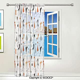 SCOCICI Colorful Cats in Different Poses Pussycat Domestic Companions Modern 1 pcs Printed Sheer Window Room Curtain Panels Decorative Drapery W55 X L84 inch