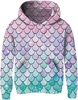 Girls 3D Print Pullover Hoodies with Pocket Kids Hooded Sweatshirt Size 4-14