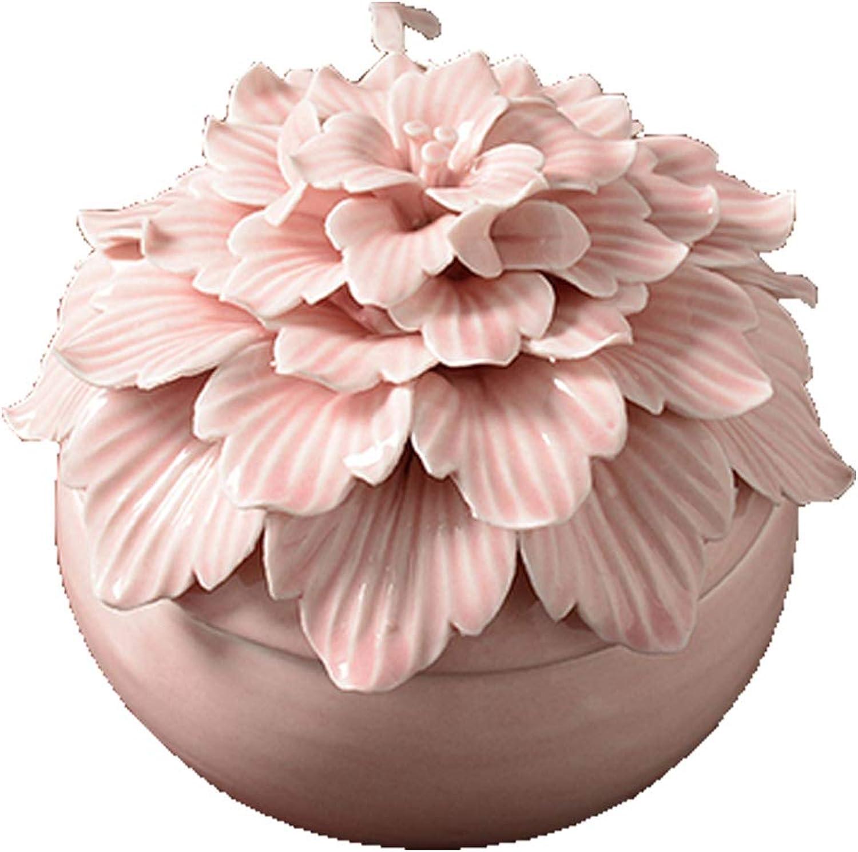 Haoyunlai Pet Cremation Weng, Ceramic Cremation Weng, Beautiful Flowershaped Carved Ceramic Weng, Sealed Pet Commemorative Box Soul Bone Box, Pink White Paradise pet souvenir (color   Pink)