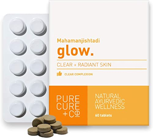 Pure Cure Co Glow Blood Purifying Formula for Healthy Skin Clear Complexion Ayurvedic Mahamanjishtadi 60 X 500 Mg Tablets