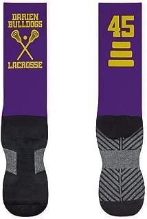 Lacrosse Stick Mid-Calf Socks | Custom Team Name & Number | Assorted Colors