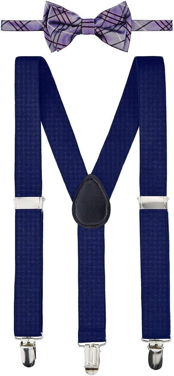 Retreez Boy's Suspender Bow Tie Set Tartan Plaid Styles Woven Pre-Tied Bow Tie