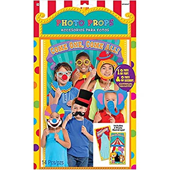 Amscan 397100 Carnival Photo Props | Party Favor | Pack of 14