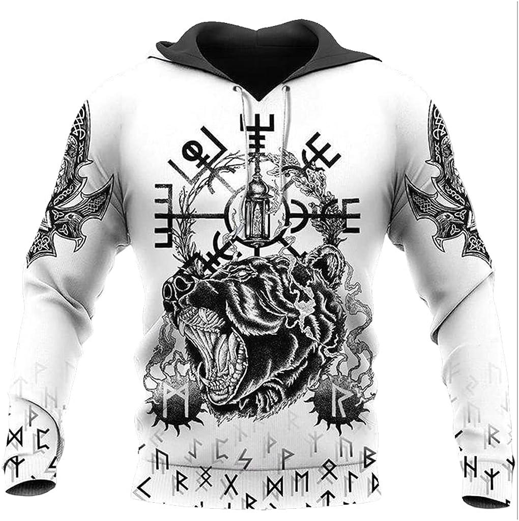 Men's Viking Totem 3D Print Long Sleeve Hoodies Fenrir Wolf Pullover Novelty Fashion Harajuku Zip Sweatshirt