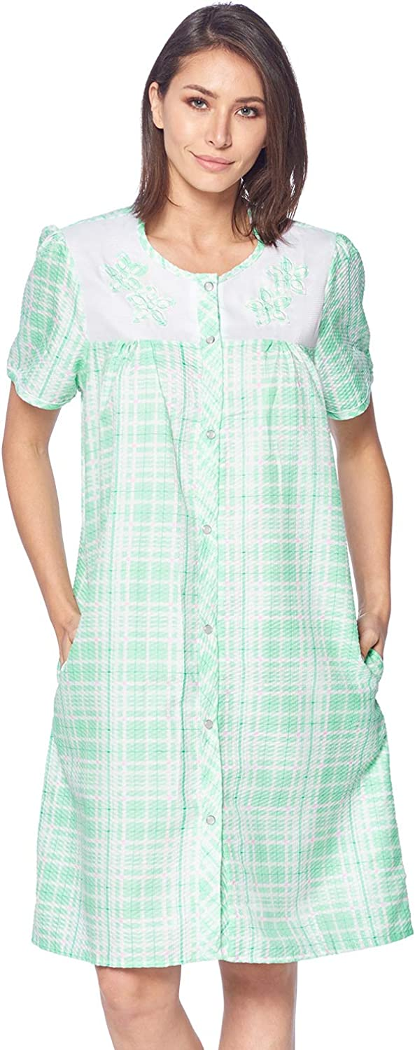 Casual Nights Womens Short Sleeve Snap-Front Lounger Duster House Dress