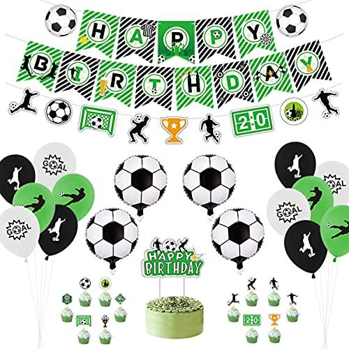 Decoración para fiestas de fútbol, incluyendo pancartas de Happy Birthday, bandera de fútbol, globos con temática de fútbol, decoración para tartas para cumpleaños infantiles (A).