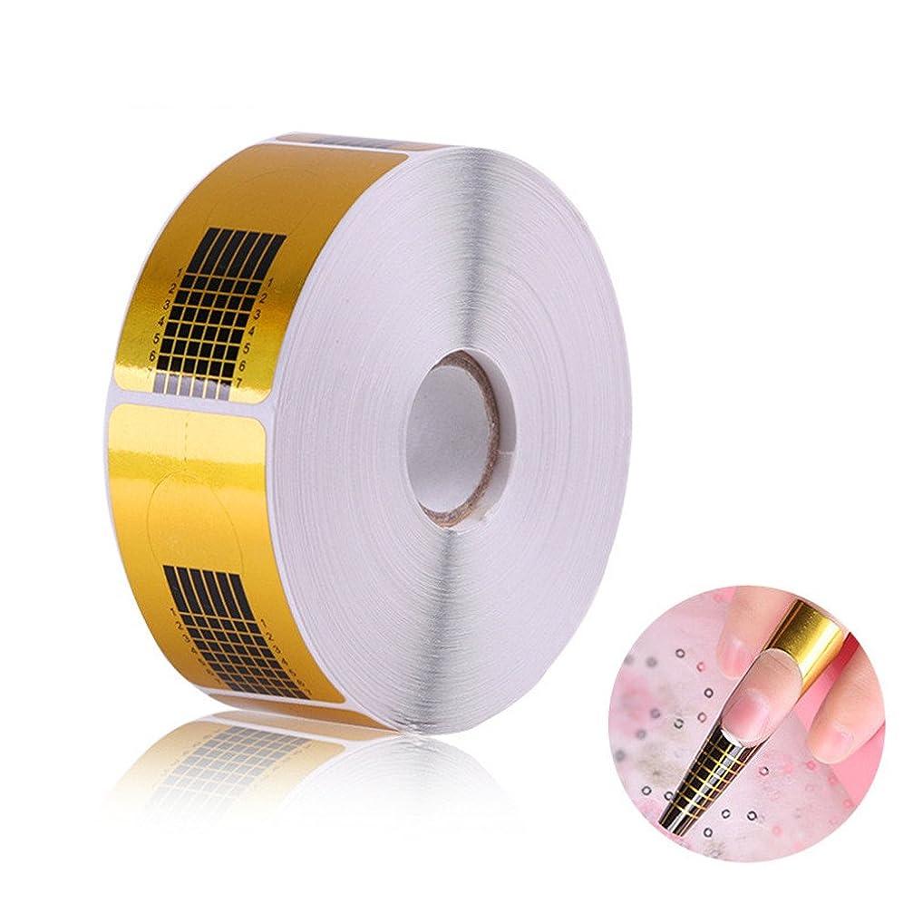 長さだしネイルフォームガイドテープ アクリル、UVジェルネイルチップエクステンションに適用なツール マニキュアネイルアートツール (500枚)