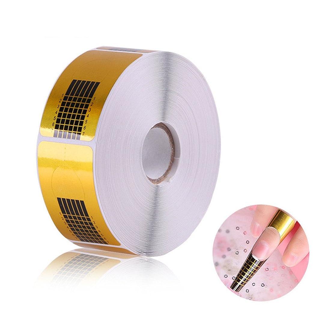 慢法律により剃る長さだしネイルフォームガイドテープ アクリル、UVジェルネイルチップエクステンションに適用なツール マニキュアネイルアートツール (500枚)