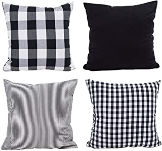 Hoplee Buffalo Check Pillow Cover Decorative Cushion Cover for Sofa, Black and White 18x18 inch,4 Pack