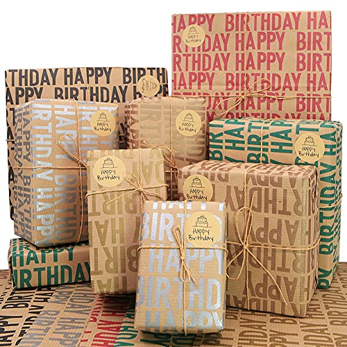 Kraft Wrapping Paper Birthday,Recycled Gift Wrapping Paper,Happy Birthday Wrapping Paper, 20 x 28 inches per sheet (12 sheets: 47 sq. ft. ttl.) Brown Folded Paper with Jute Strings, Stickers and Bows for All Birthday Occasions