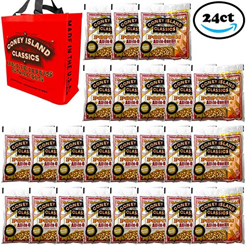 Coney Island Classics Premium Movie Theater Popcorn 8 Ounce Bag All In One Portion Kit With Coconut Oil & Flavored Salt With Bonus Large Tote Bag Bulk 24CT 1 Real Theater Popcorn