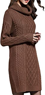 NUTEXROL Women's Long Sleeve Turtleneck Knit Thick Cable Pullover Sweater Dress