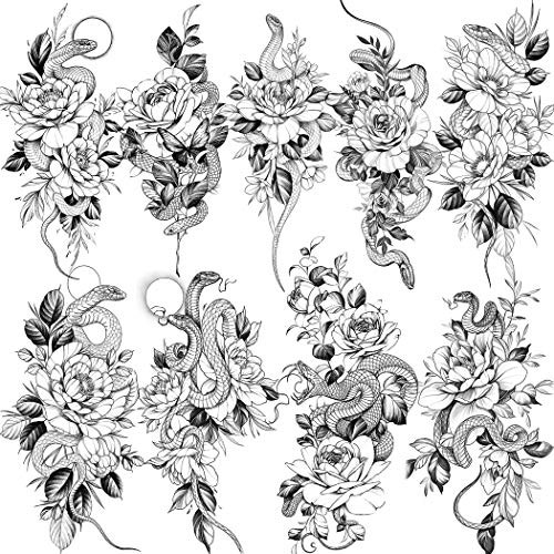 NAPPO 9 Feuilles Fleurs Serpent Réaliste Tatouage Éphémère Femme, Autocollant Faux Tatouage Temporaire Adultes Noir Sexy Rose Avant Bras Jambe, Grand Floral Pivoine Tattoos Kit Tatouage Autocollant
