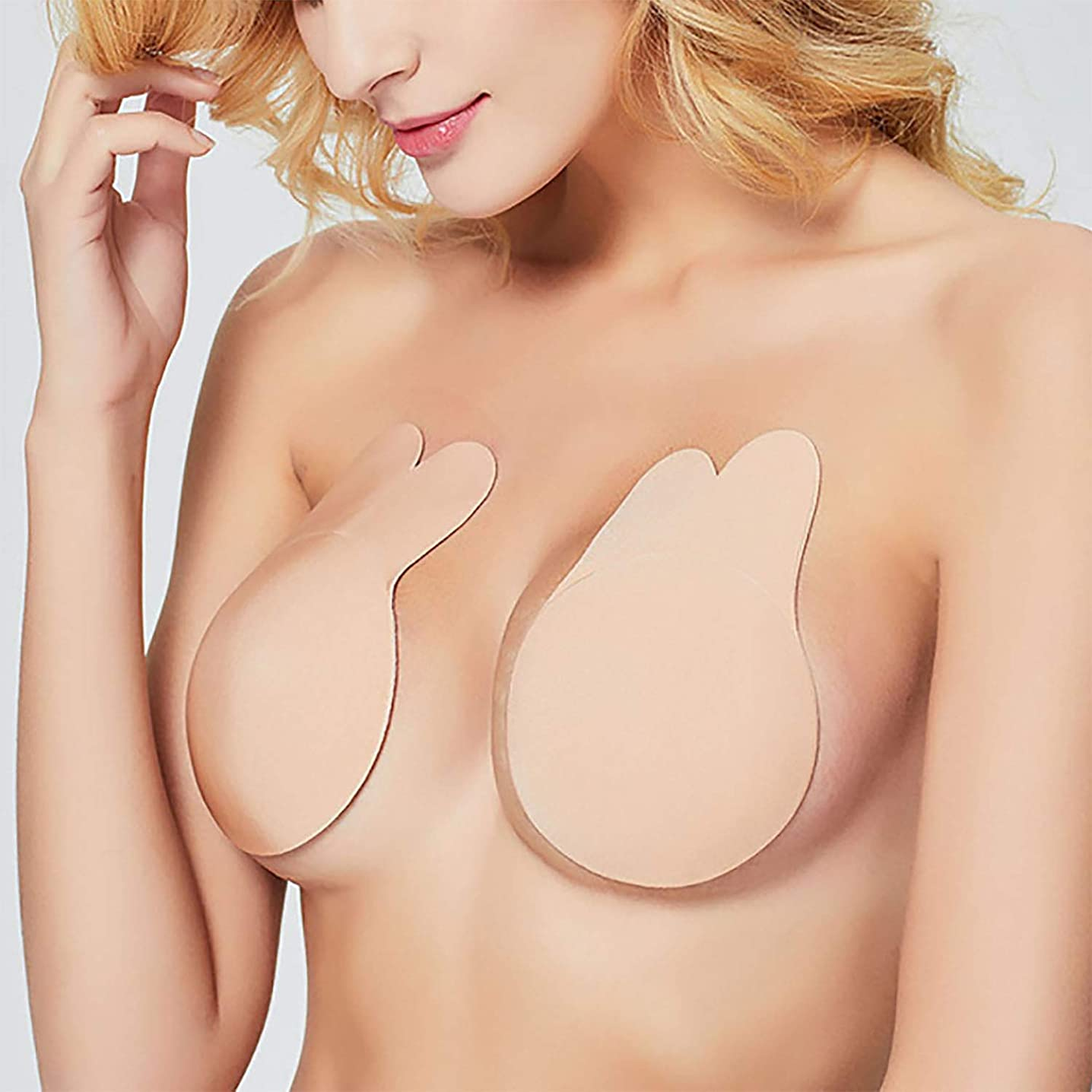 Adhesive Bra, Strapless Bra Breast Lift Sticky Bra for Backless Dress with Nipple Covers Nude (Nude)