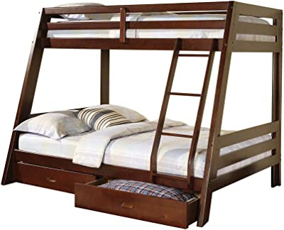 Benjara Wooden Twin Over Full Bunk Bed with Attached Ladder and 2 Drawers, Brown