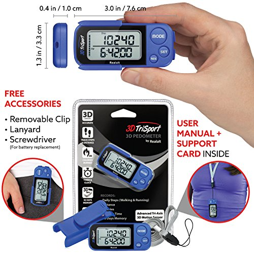 3DTriSport Walking 3D Pedometer with Clip and Strap, Free eBook | 30 Days Memory, Accurate Step Counter, Walking Distance Miles/Km, Calorie Counter, Daily Target Monitor, Exercise Time. (Blue)