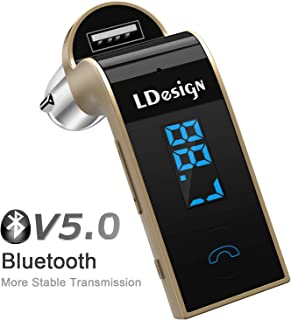 LDesign FM Transmitter, Bluetooth Wireless in-Car FM Radio Adapter Car Kit with Hand Free Call | Stereo 4 Modes Music Play | TF Card &U-Disk Reading Applicable for All Smart Phones -Gold
