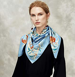 Fashion Women Flower Painted Square Scarf Imitated Silk Satin Head Neck Shawl Silk Scarf,D