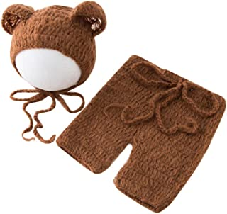 Luxury Stretch Newborn Boy Girl Baby Outfits Costume Photo Props Bear Hat Pants