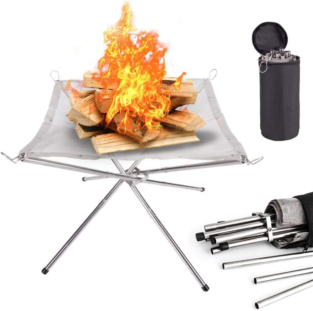 Flantor Portable Outdoor Fire Pit 16.5 Inch Camping Fire Pit Collapsing Steel Mesh Fireplace for Camping, Outdoor, Patio, Backyard and Garden (Carrying Bag Included)