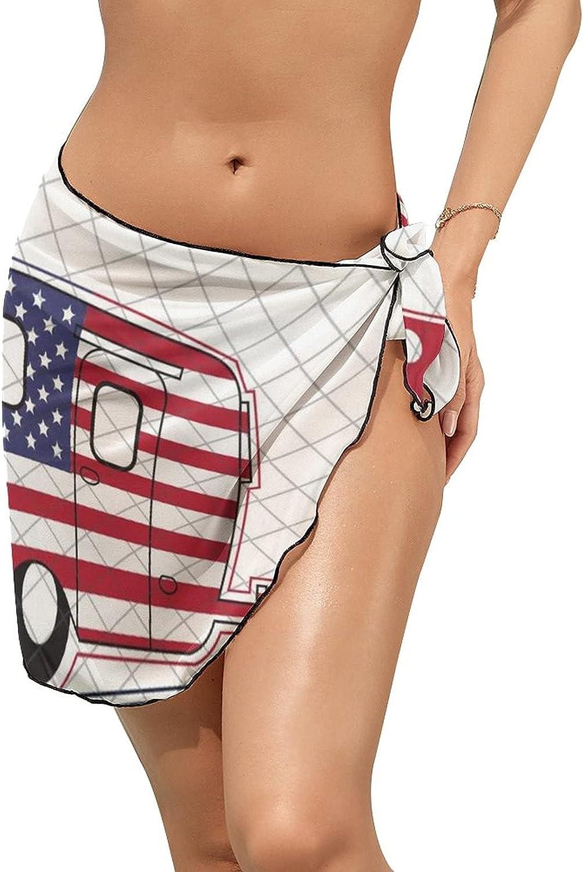 Women Beach Wrap Skirts Love Camper American Flag Personalized Bikini Swimwear Beach Cover Up