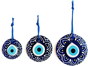 Erbulus Turkish Blue Evil Eye Wall Hanging Ornament – Turkish Nazar Beads - Triple Evil Eye with Flower Pattern Home Protection Charm - Wall Decor Amulet Set of 3