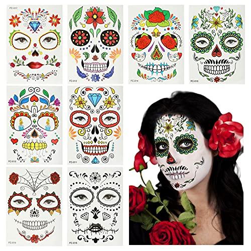 HAMOOM 8pcs Tatuajes Temporales Niños Disfraz Halloween Niña Decoración Facial Esqueleto Vampira...