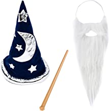 Funny Party Hats Magic Wizard Costume - Wizard Costume Hat, Beard & Wand - Wizard Costume Accessories