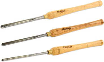Hurricane Turning Tools, Woodturning Three Piece Bowl Gouge Set, 1/4 Inches Flute, 3/8 Inches Flute, and 1/2 Inches Flute, High Speed Steel