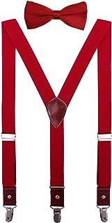 CEAJOO Men Boys Suspenders and Bow Tie Set Adjustable Y Back