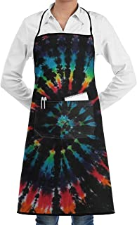 Men Women Bib Aprons Waiter Hostess Apron Waterproof Liquid Drop Resistant for Restaurant, Salon, Chef Tie Dye Apron Extra Long Ties - Machine Washable
