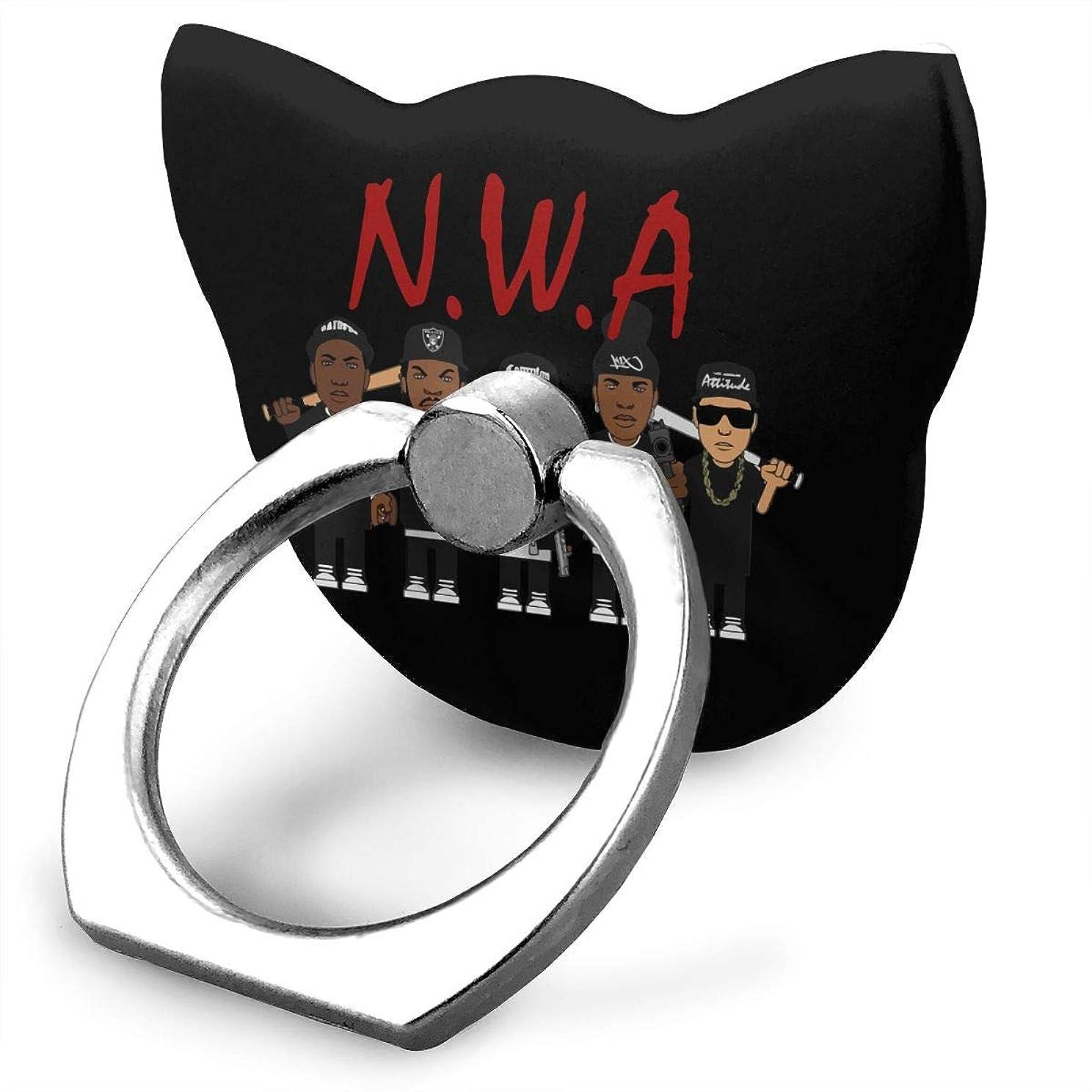 ポーチ本を読むピアN.W.A West Coast Hip Hop Group Cartoon Member スマホリング 猫耳 薄型 ネコ型 スマホ りんぐ ホルダー 強吸着力 落下防止 携帯リング 360° 角度調整 IPhone/Android各種他対応