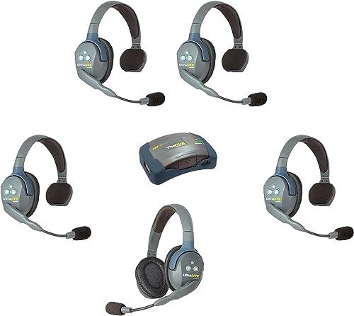 Eartec HUB541 UltraLITE Wireless System - 1 HUB Full Duplex Transceiver, 1 ULDR Dual Ear DECT Headset, 4-Pack of ULSR Single-Ear Remote Headsets (Renewed)