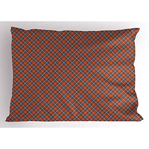 4 Stück 18X18 Zoll Abstrakt Pillow Sham,Tartan Und Plaid Inspiriert Classic Feels Folk Schottisch Inspirierte Motiv,Home Decor Standard King Size Gedruckt Kissenbezug