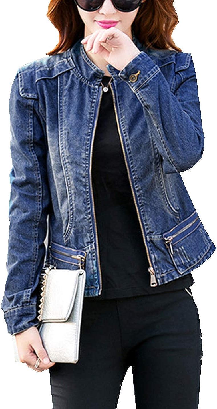 D.B.M Women's Fashion Slim Dark-Blue Short Round Neck Zipper Denim Jacket
