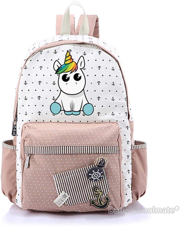 SWVV Cartoon Unicorn Girl Backpacks Laptop Canvas Bags Student School Bag School Backpack for Girls