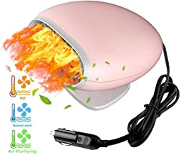 ZYYRSS Portable Car Heater 12V Fast Heating Car Defroster 2 in 1 Auto Heater/Cooling Fan Car Windscreen Demister Heater (Pink)