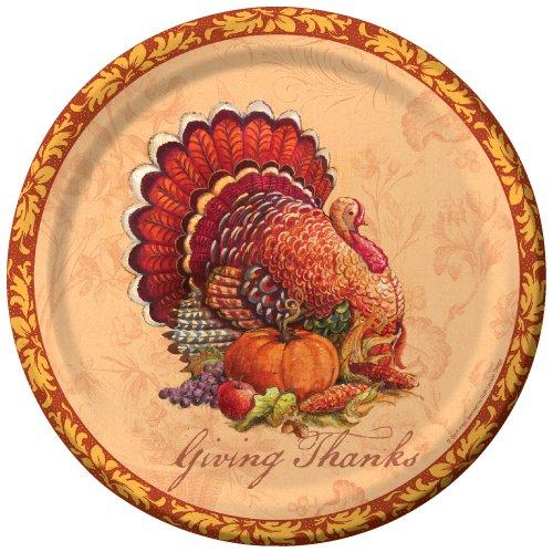 Creative Converting 436883 8 Count Paper Banquet Plates, Festive Fare, Tan/Orange