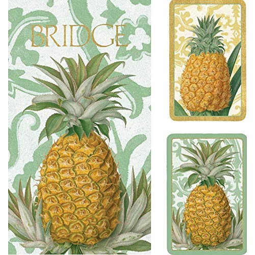 Caspari Royal Pineapple Bridge Set inkl. 2 Spielkarten, 4 Punkteblöcke, 4 Bleistifte, Holz, Multi, Regular Type