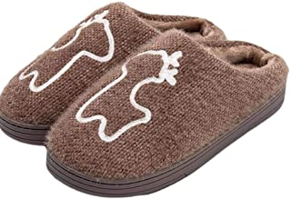 Winter New Couple Cotton Mop Indoor Warm Thick Wool Slippers Simple Home Non-Slip Slippers Soft Comfort Cotton Shoes (Color : Coffee, Size : 250)