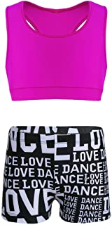 Aiihoo Kids Girls Sports Activewear Sleeveless Racer Back Crop Tops with Letters Printed Bottoms Set for Gym Dancing Rose&...