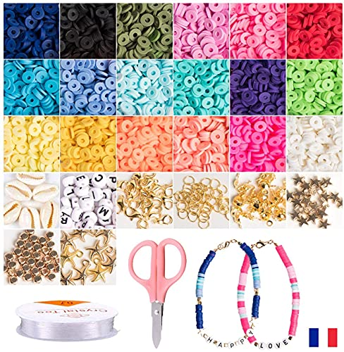+ de 4000 PCS Juguete de Cuentas Coloridas Abalorios Hacer Pulseras Collar de Bricolaje Cuentas de Arcilla de Joyas DIY Manualidad Fabricación de Joyas para Niños Adultas. 120 cuentas de letras