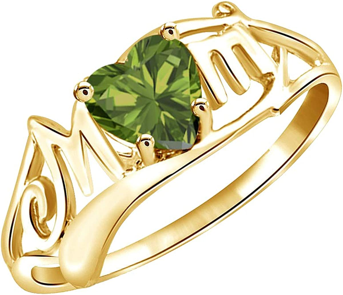 AFFY Simulated Peridot Mom Heart Ring in 14k Gold Over Sterling Silver 0.50 Cttw
