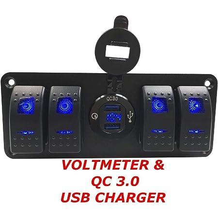 6 Gang Switch Panel with 12V-24V LED Digital Voltmeter Dual USB Charger Q1P0 1X