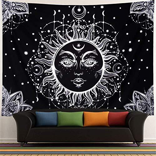 DreamyDesign Tarot-Wandteppich Sonne und Mond Psychedelische Tapisserie Wandbehang Wald Wandteppiche indisch Mandala Bohemien Hippie Strand werfen (Schwarzes Gesicht-150 x 200 cm)