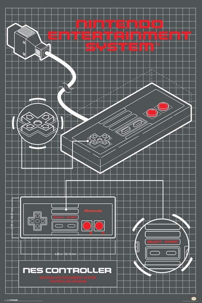 Pyramid America Nintendo Entertainment System Controller Diagram Video Game Gaming Cool Wall Decor Art Print Poster 24x36
