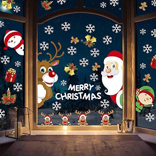 Fensterbilder für Weihnachten, Weihnachtsmann Elf Rentier Schneeflocke Abnehmbare Statische PVC Wiederverwendbar Wandaufkleber für Weihnachten Fensterdekorationen 4 Blätter