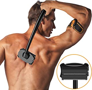 SHINCO Back Shaver [Upgrade 2.0], Body Shaver Back Razor for Men, Back Hair Removal with Double Wet or Dry Used Razor Blades, Long Curved Ergonomic Handle,Pain-Free (Black)
