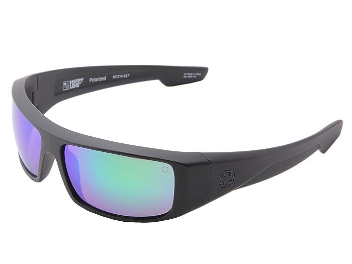 Spy Optic Logan (Happy Lens) (Matte Black/HD Plus Bronze Polar W/Green Spectra Mirror) Sport Sunglasses
