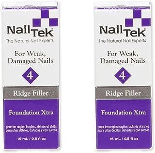 Nail Tek Foundation Xtra 4, Ridge Filling Strengthening Base Coat for Weak and Damaged Nails, 0.5 oz, 2-Pack